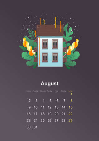 wall calendar page 2021 one month Stock Illustratie