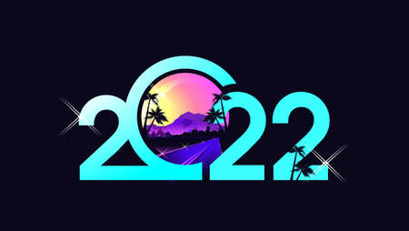 2022 year numbers tropical banner vector