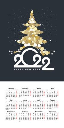 calendar grid 2022 vertical english vector