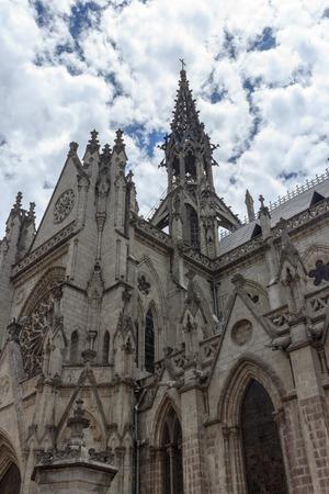 Basilica del Voto Nacional neo-Gothic building in quito Ecuador