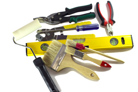 Hand tools on white background   photo