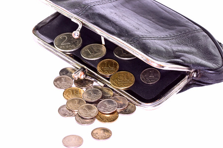 kopek: Purse with coins isolated on white background Stock Photo