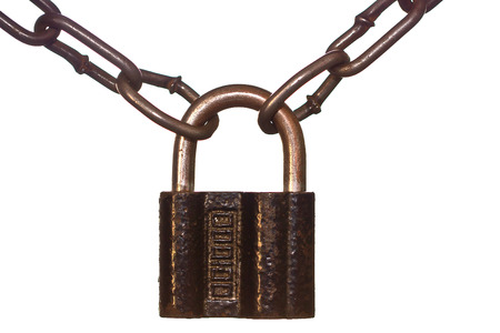 Old Lock  and rusted chain isolated on white photo