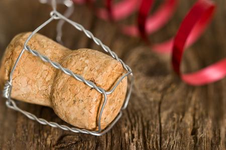 Champagne cork new year. Macro image. Stock Photo