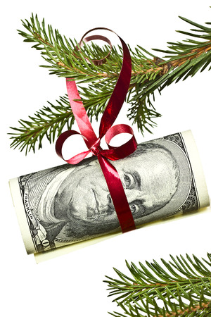 dollar banknote hanging on christmas tree branch on white background photo