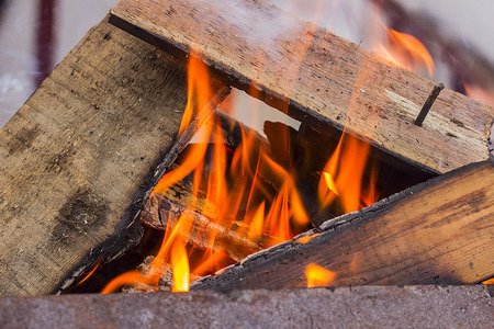 brazier: Wood burning in a brazier