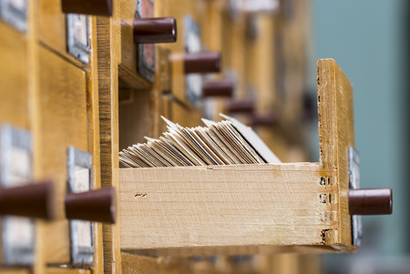 card file: database concept. vintage cabinet. library card or file catalog.