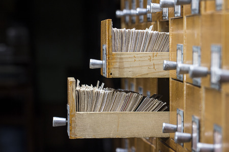 database: Two open box in the archive library Stock Photo