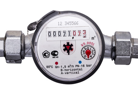 Water meter on a white background 스톡 콘텐츠