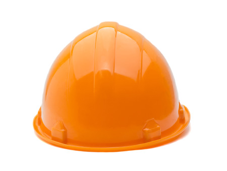 Construction helmet on a white background. rear view photo