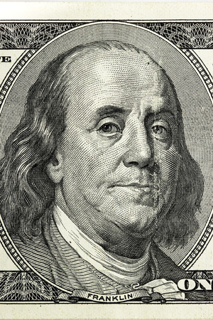 franklin: Hundred dollar bill close-up fragment, Benjamin Franklin. Stock Photo