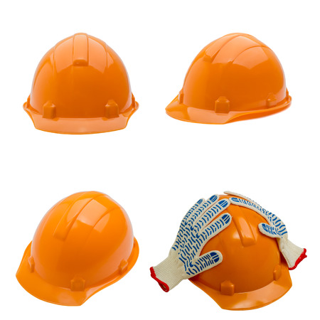 safety equipment: Set of construction helmet shot isolated on white. collection Stock Photo