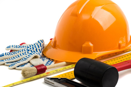 glass cutter: Construction helmet and tools. background