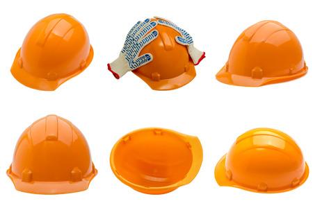 set of construction helmet shot isolated on white photo