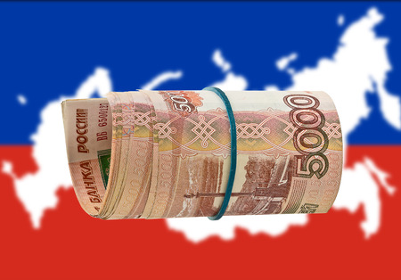 russland karte: Russian f�nfzig Rubel nach Russland Karte Hintergrund Lizenzfreie Bilder