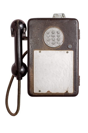 pay wall: An vintage pay phone isolated on white background with free text space