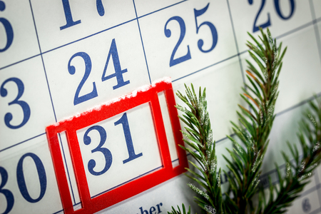 the end of the year: Toggle wall calendar with a branch of spruce Stock Photo