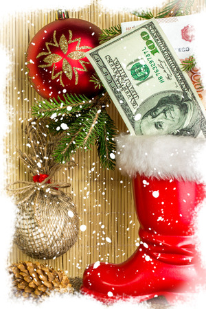 botas de navidad: Decoraciones de Navidad con copos de nieve. Tarjeta de Navidad