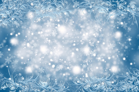new year: Christmas background with a frosty pattern. Christmas and New Year Stock Photo