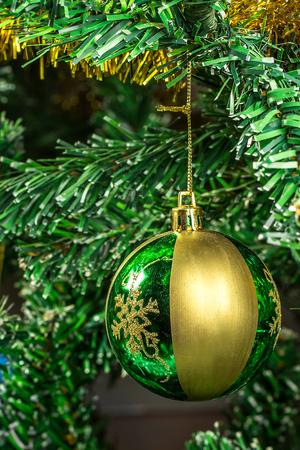 christmas tree ball: Ball on the Christmas tree. Christmas background Stock Photo