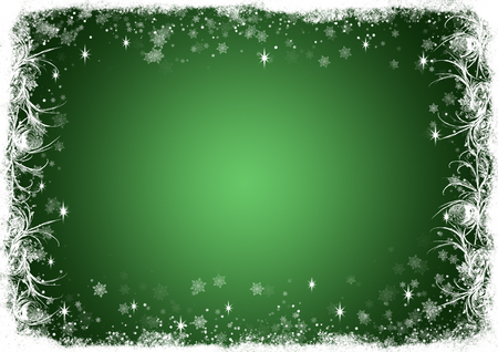 wallpaper pattern: Green Christmas background with white frost and sparkles Stock Photo