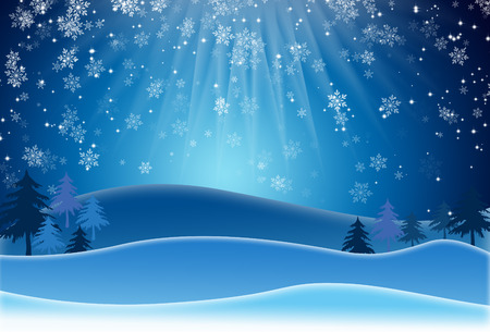 raster illustration: Blue Christmas Background With Snowflakes. Raster Illustration Stock Photo
