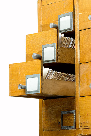 Old wooden card catalog isolated over white