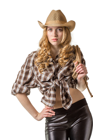 blond girl: Beautiful  lady with long hair  in a cowboy hat on white background