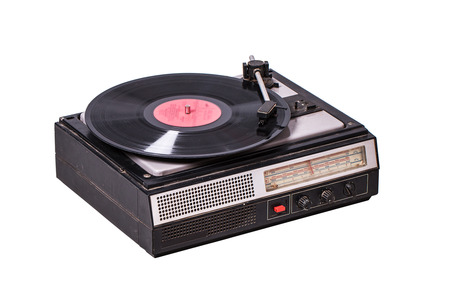 sliding scale: Vintage record player with radio tuner isolated on white background Stock Photo
