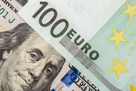 Background of the money. Euro and Dollar. financial concept Imagens