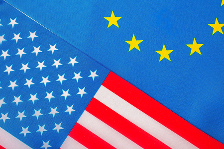 Closeup of Flags of USA and European Union Stock fotó