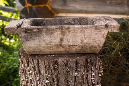 old trough in the  garden. old traditional subject in Russia