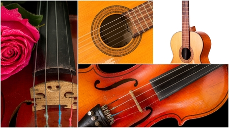 Photo of musical instruments. Music collage, classical guitar and violin Stock Photo - 97667759