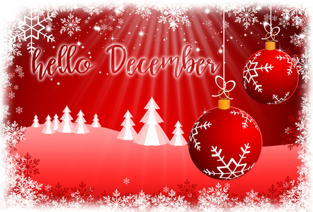 Holiday Greeting Card with lettering HELLO DECEMBER.