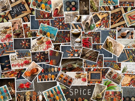 Collection of different spices and herbs. set  of condiments. Spice and herbs background, collage of spices. seasonings background palette in color