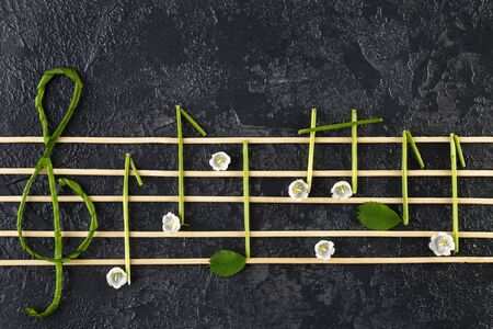 Musical notes conception. Wooden musical notes and flowers. Creative music notes made of flowers on dark background. Top view, Flat lay Reklamní fotografie