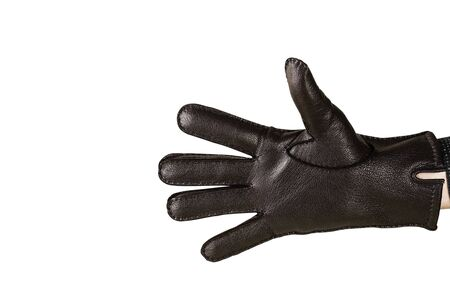 Hand in black leather gloves. Open hand in black leather glove isolated on white. Plain arm accessory presentation for branding.