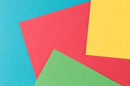 Abstract geometric paper background. Green, yellow, Red, blue trend colors. Concept or idea picture use for copy space