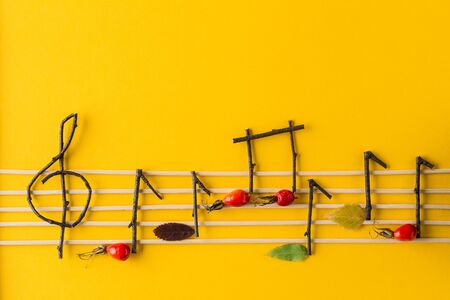 Musical notes conception. Wooden musical notes, berries and leaves on bright yellow paper background. autumn composition. Top view,  Flat lay. Space for text.