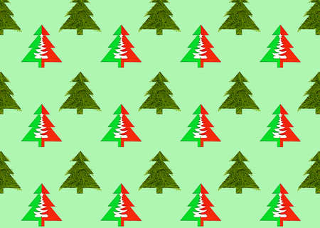 Seamless pattern with green christmas trees on a green background