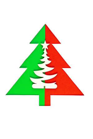 Christmas trees on white background. Minimal composition background.