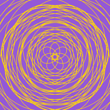 Yellow abstract shape on purple background. Computer generated geometric illustration.