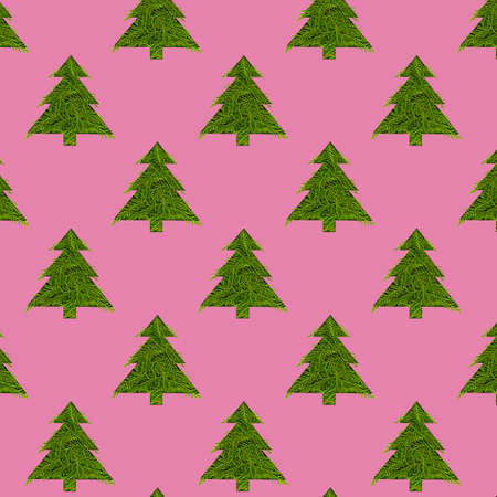 Seamless pattern with green christmas trees on a pink background Imagens