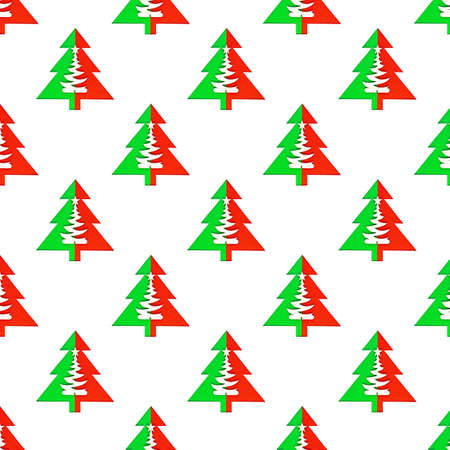 Seamless pattern with green christmas trees on white background
