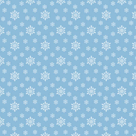 Christmas seamless pattern with snowflakes on pastel blue background