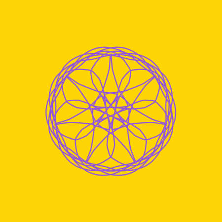 Purple abstract shape on yellow background. Computer generated geometric illustration. Imagens