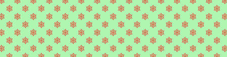 Christmas seamless pattern with snowflakes on pastel green background