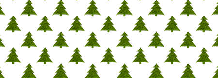 Seamless pattern with green christmas trees on a white background