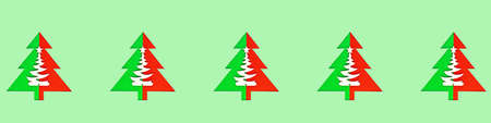 Seamless pattern with green christmas trees on a green background. Imagens