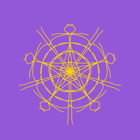 Yellow abstract shape on purple background. Computer generated geometric illustration. Abstract digital background. Geometric Shape, Circle, Geometry, Line, Spiral, Spirograph, Symmetry, Ornament